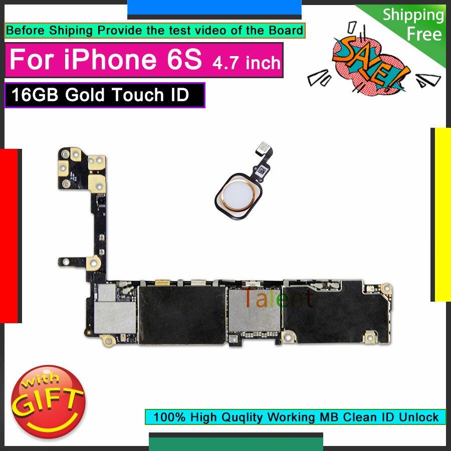 Для iPhone 6S материнская плата 16GB Gold Touch ID разблокированная разборная материнская плата Хорошая рабочая логическая плата протестированная пол