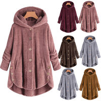 Women Winter Solid Fluffy Coat Overcoat Button Jacket Tops Outwear Loose Sweater Fluffy Tail Tops Hooded Pullover Loose Coat
