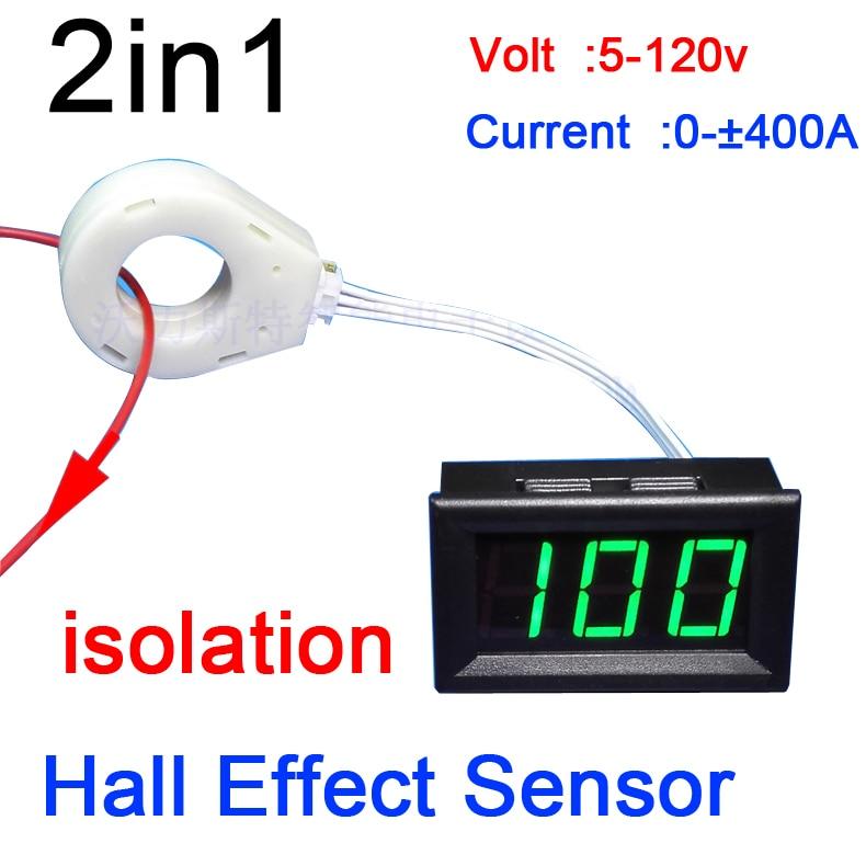 Цифровой вольтметр, амперметр постоянного тока 120 В, 400A, 200A, 100A, 50A, датчик разряда, тока, холла, 12 В, 24 В, монитор солнечной батареи автомобиля