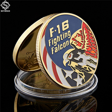 American Gold Coin US F-16 Fighting Falcon Metal Military Coin USA Air Force Challange Coin цена
