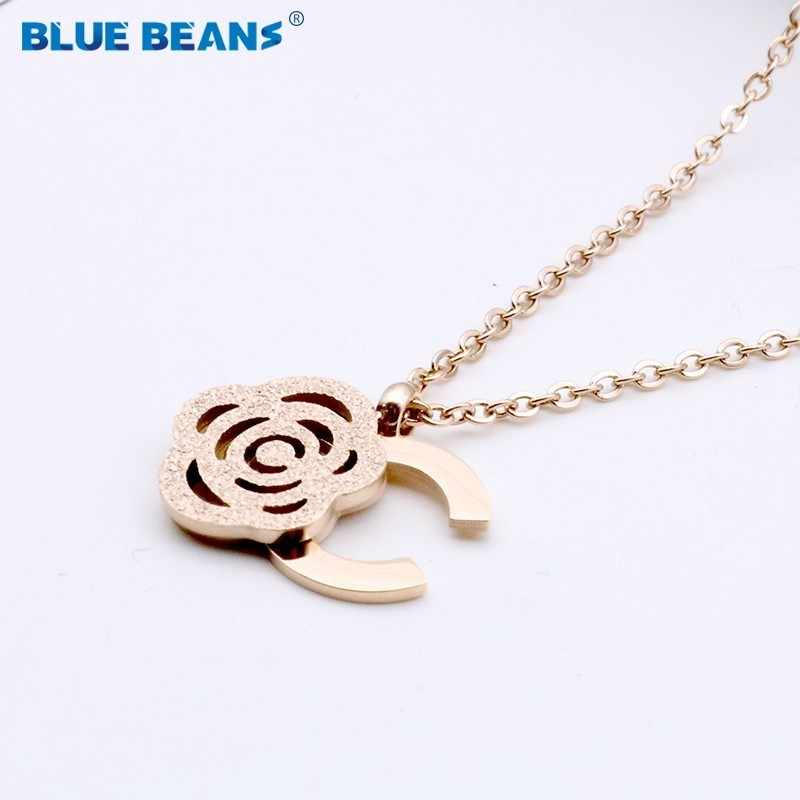 stainless steel flower necklace fashion jewelry pendants Rose gold letter necklace gifts women choker long chain accessories CC