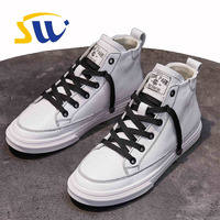SWONCO High top White/Black Shoes Women Sneakers 2019 Spring Ladies Casual Shoes Female Vulcanize Sneakers For Women Size 40