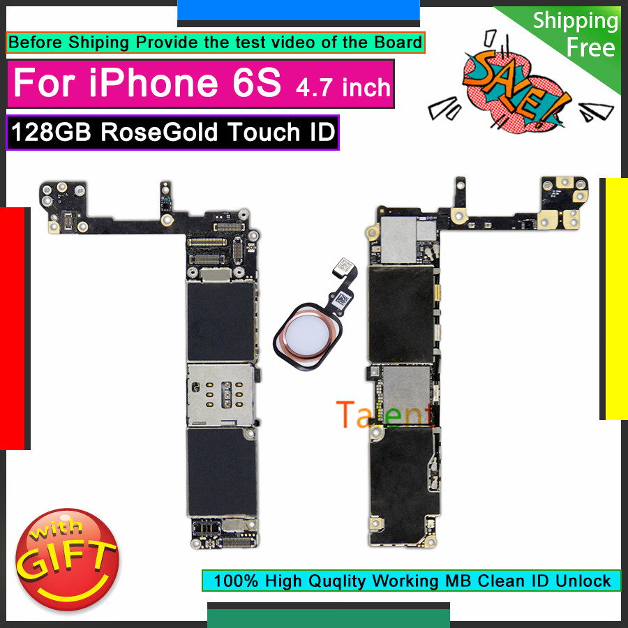 For IPhone 6S Motherboard 128GB RoseGold Touch ID Unlocked Disassembly Mainboard Good Working Logic Board Tested Full Functions