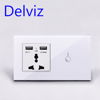 Delviz Universal jack,USB socket,UK 13A wall power outlet,146*86mm safety Single control switch,Crystal glass panel touch switch