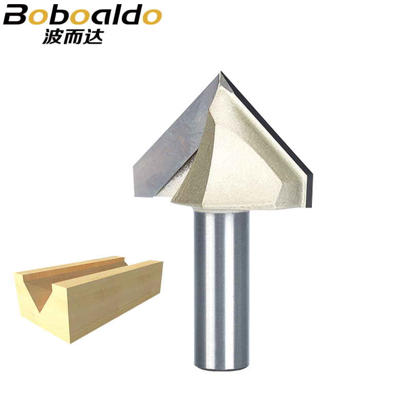 Boboaldo 1pcs 1/2 1/4 Shank V Type Slotting Cutter Professional Router Bits For Wood 90 Deg Tungsten Woodworking Carving Tool