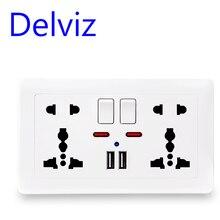 Delviz קיר שקע חשמל אוניברסלי 5 חור, 2.1A כפולה USB מטען נמל, 146mm * 86mm, LED מחוון, בריטניה סטנדרטי USB להעביר לשקע