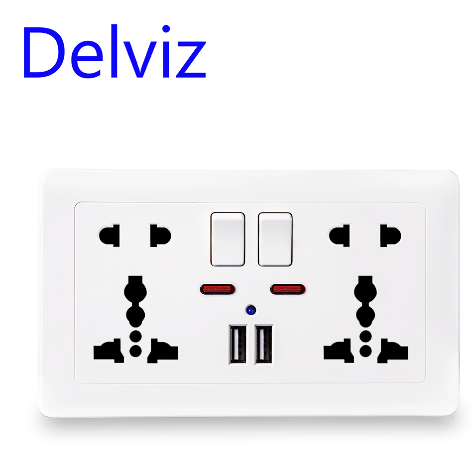 Delviz Wall Power Socket Universal 5 Hole, 2.1A Dual USB Charger Port,146mm*86mm, LED indicator, UK Standard USB Switched Outlet(China)