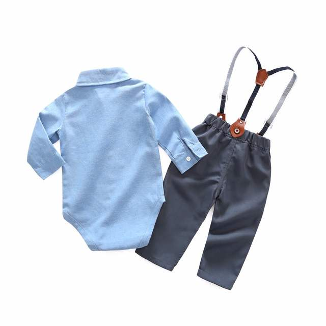 de47d55d8ea50 Newborn Baby Clothes Gentleman Baby Boy Carters New Style Grey Shirt  +Overalls Fashion Baby Boys Clothing Sets
