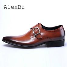 a991bfd7f AlexBu الربيع حذاء رجالي جلد الرسمي الكلاسيكية الايطالية أحذية الرجل  الفاخرة العلامة التجارية الانزلاق على أحذية الزفاف عالية ال.