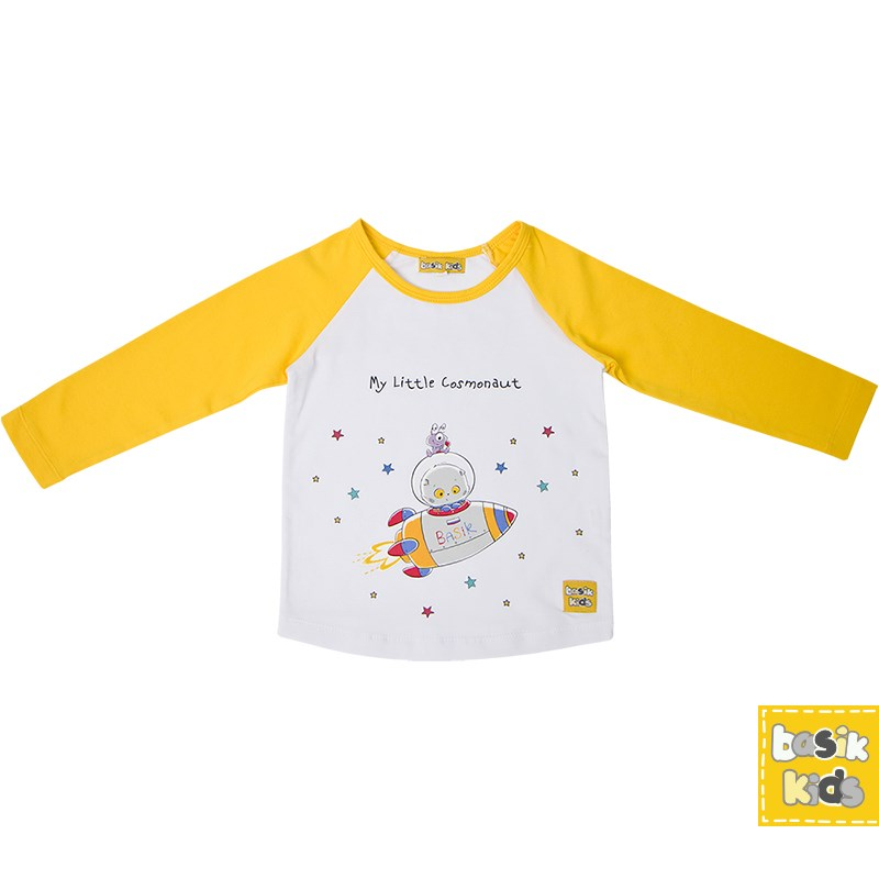 Basik Kids T-shirt long sleeve combination 3d letters and banknote printed round neck short sleeve men s t shirt