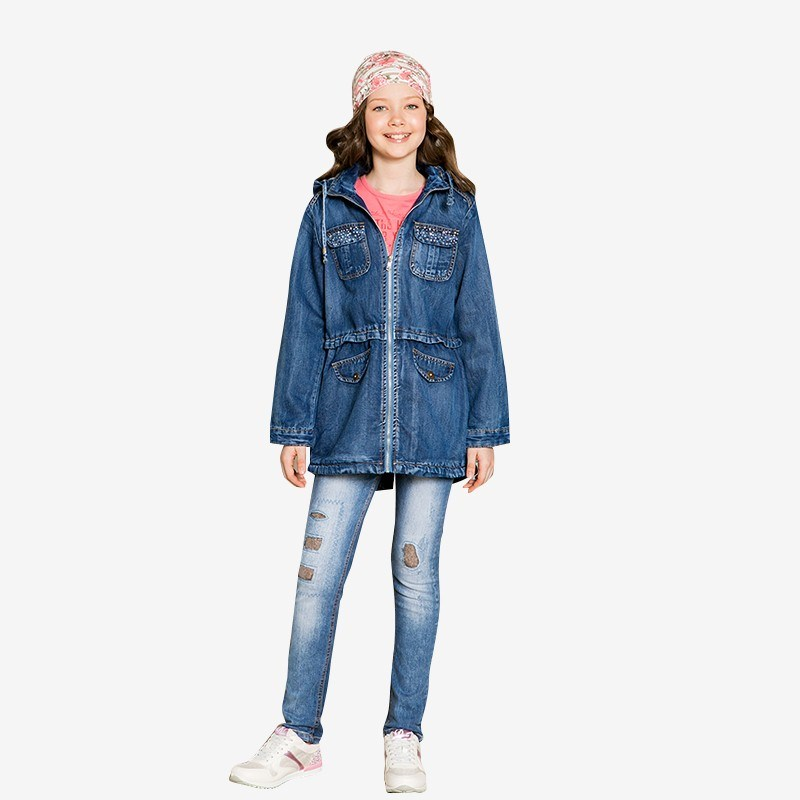 [Available with 10.11] jacket denim for girls (Park) camo insert faux fur trim denim jacket