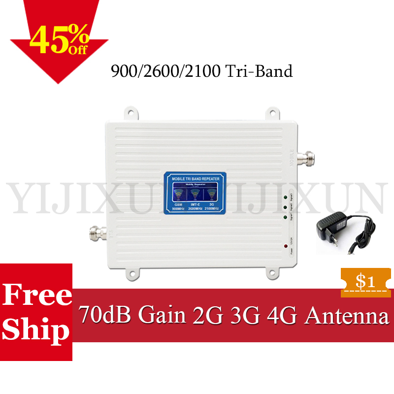 La russie 2G 3G 4G Répéteur GSM 900 FDD LTE 2600 2100 WCDMA Téléphone portable Signal Booster 900 2100 2600 Tri-Bande Signal 4G Amplificateur