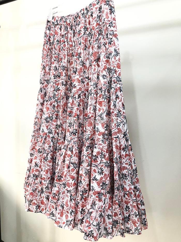 인쇄 코튼 미디 스커트 탄성 허리 패션 롱 스커트 여성 최고 품질-에서스커트부터 여성 의류 의  그룹 3