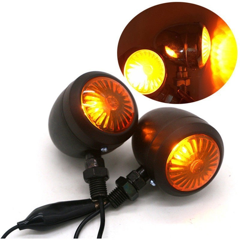 4x Black Motorcycle Turn Signals Bullet Blinker Amber Indicator Light For Harley
