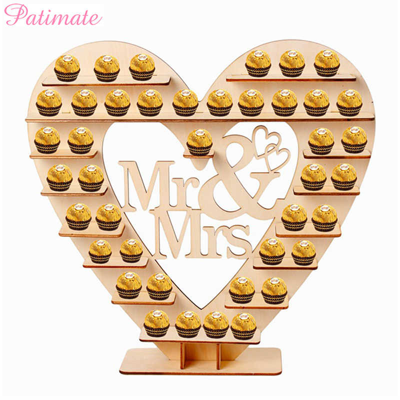 PATIMATE Mr & Mrs Cuore di Albero di Cioccolato Stand Decorazione di Cerimonia Nuziale Anniversary Party Decor Retro Tabella di Cerimonia Nuziale Decor Mestieri Favore