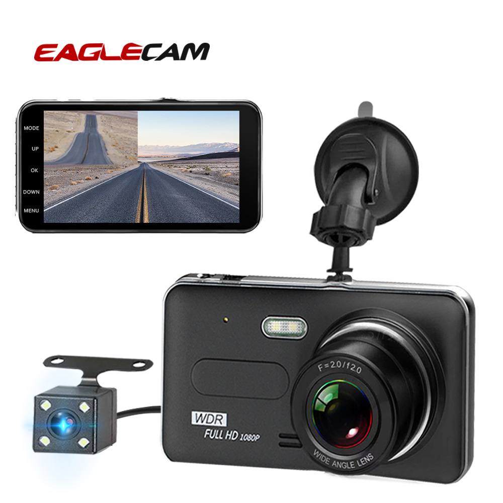 Image 1 - Car Dvr Camera 4.0 Inch Screen Full HD 1080P Dual Lens with Rear View Dashcam Auto Registrar Car Video Recorder DVRs Camcorder-in DVR/Dash Camera from Automobiles & Motorcycles