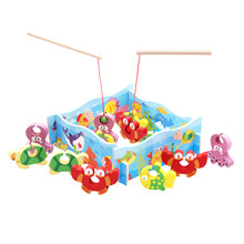 Baby Kid Wooden Toys Magnetic Fishing Game 3D Jigsaw Puzzle Toy Interesting Baby Children Educational Puzzles Toy Gift(China)