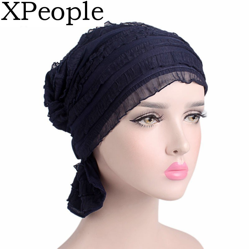 XPeople Slouchy Snood-Caps For Women With Chemo Cancer Hair Loss Abbey Cap In Ruffle Fabric Chemo Caps Cancer Hats For Women