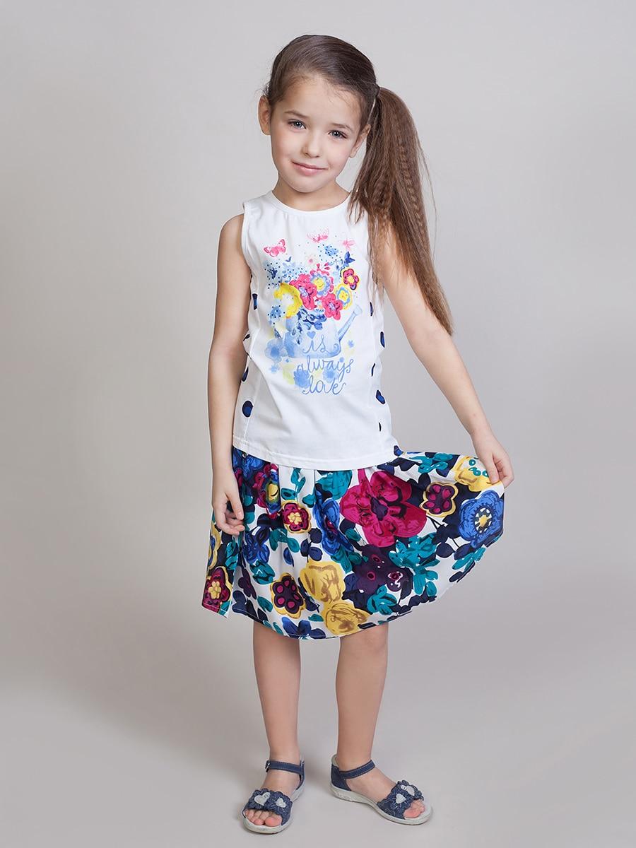 Skirt fabric for girls girls mixed print a line skirt