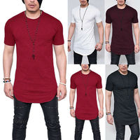 MEN 'S t shirts EXTRA LONG TALL BODY URBAN TEE LONGLINE OVERSIZED PLAIN TOP offers T shirt Basic Stretch T shirts