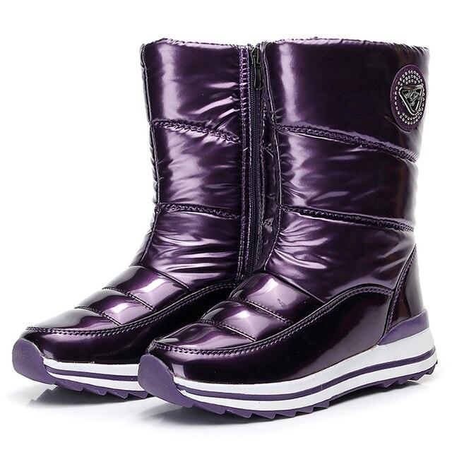 Zimowe damskie ciepłe buty na śnieg płaskie wodoodporne 2019 wodoodporne grube zimowe buty z futrem antypoślizgowe kobiece Botas Mujer Botas