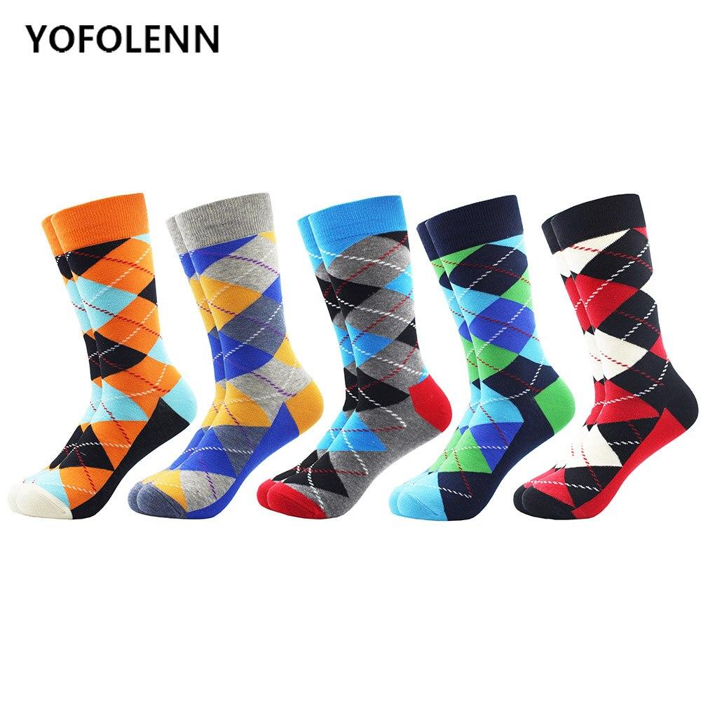 5 Pair/lot Men's Happy Funny Men's Argyle Combed Cotton Socks Bright Long Crew Dress Socks For Man Long Tube Wedding Socks Cool