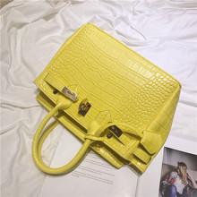 High Qulity Lemon Yellow Alligator Bags Anti-Theft Handbags Serpentine Crocodile Designer Shoulder Female Messenger Women Bags