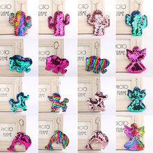 Fashion Sequins Glitter Keychain Dolphin Women Key Chain Candy Color Angel Animal Girls Elephant Bag Accessories