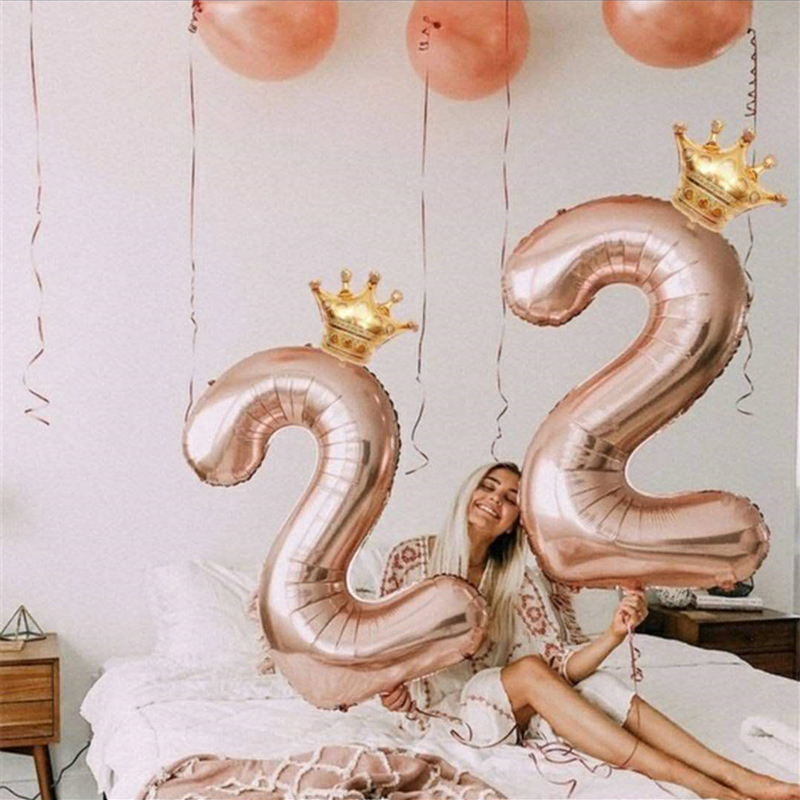 2pcs Large 40inch Rose Gold Number Foil Balloons Babyshower Girl Birthday Party Decorations Kids Home Party Supplies Kid's Gift