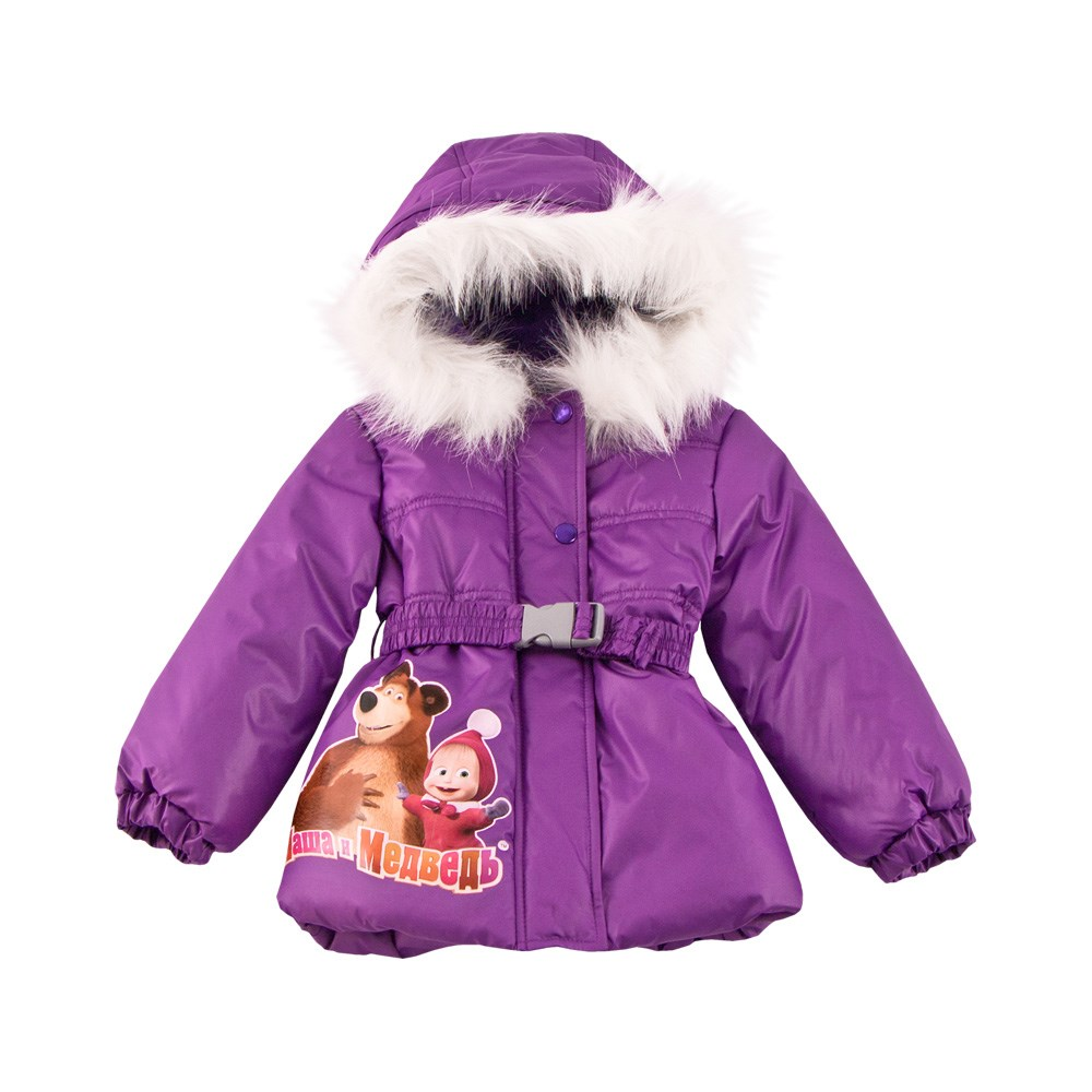 Masha and Bear jacket parka with fur purple