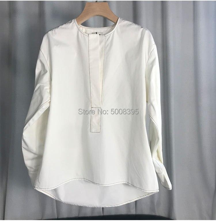 화이트 arras 블라우스 코튼 v 목 드롭 어깨 보이는 탑 스티치 긴 소매 buttoned 커프 패션 여성 의류 2019-에서블라우스 & 셔츠부터 여성 의류 의  그룹 2