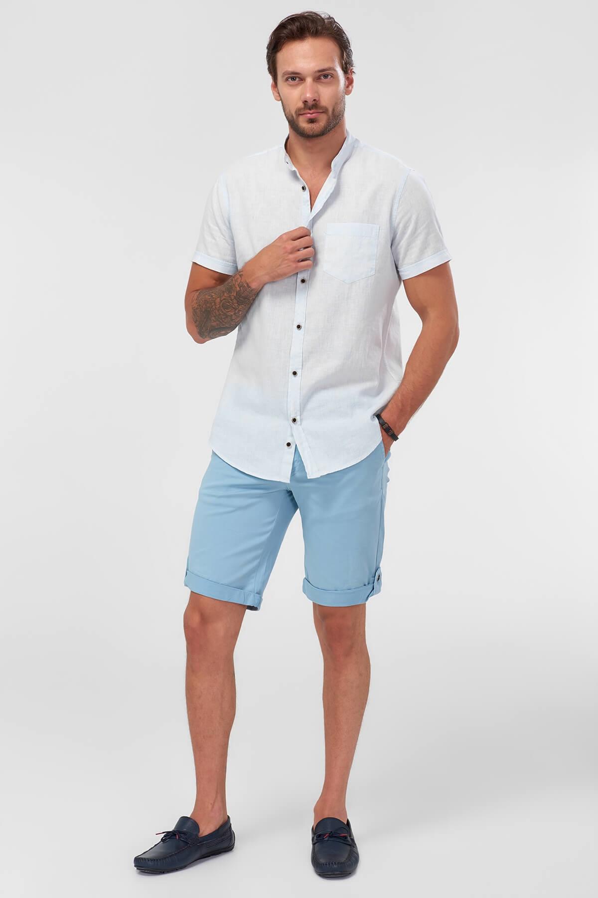 Inteligente Trendyol Blu Degli Uomini Di Shorts-leg Curl Up Smart-casual Promuovi La Produzione Di Fluidi Corporei E Saliva