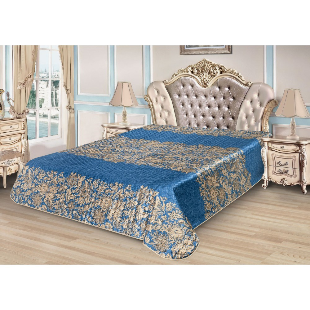 Bedspread Ethel Silk Fantasy, size 200*220 cm, faux Silk 100% N/E flounce sleeve faux pearl beading lace top