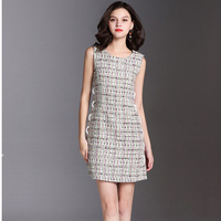 high quality designer 2018 luxury brand runway dresses women tweed dress sleeveless vest party cute chic mini dress