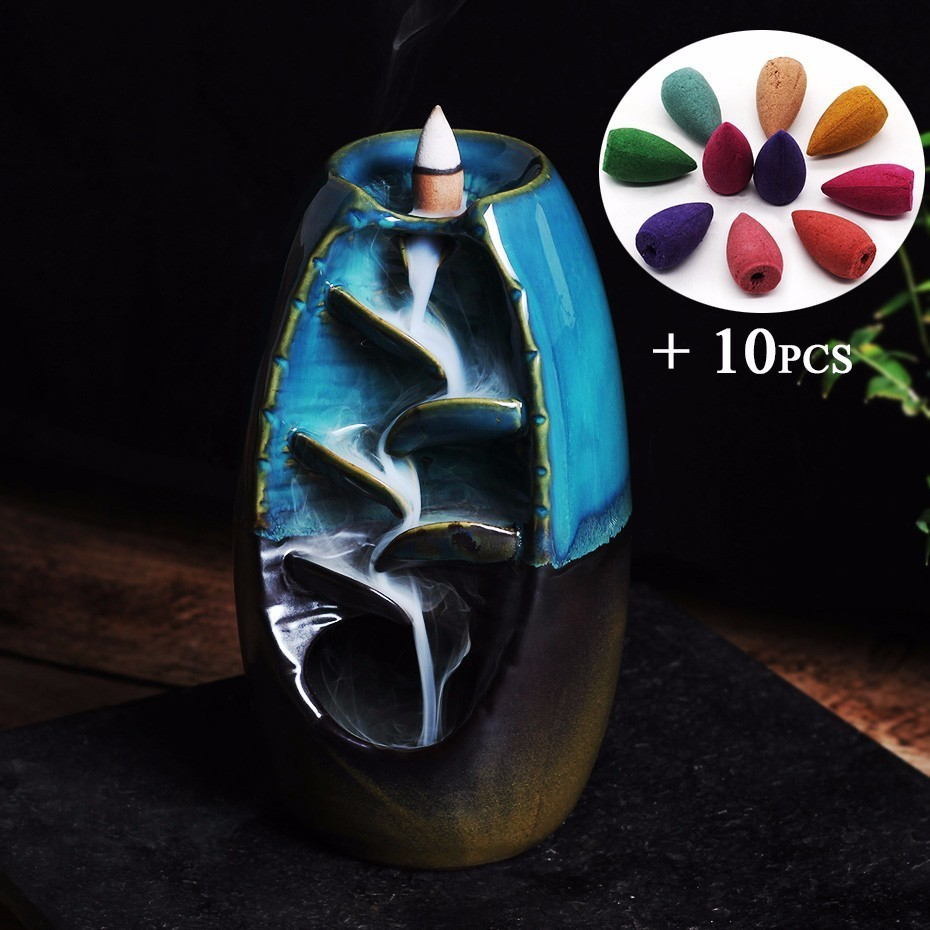 Enough Stock Free Gift 10Pcs Incense Cones Backflow Incense Burner Ceramic Aromatherapy Furnace Smell Aromatic Incense Road in Incense Incense Burners from Home Garden