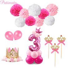 PATIMATE 3rd Birthday Balloon Party Decoration 3 Years Old Blue Boy Number Balloons Foil Helium Balloon Party Supplies Pink Girl
