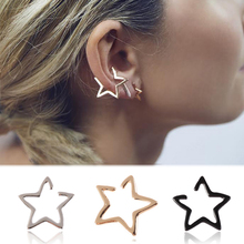 Hot 1PC Simple Gold Silver Star Earring For Women Alloy Graceful Hollow Out Ear clip Stud Alloy Fashion Jewelry graceful alloy faux feather necklace for women