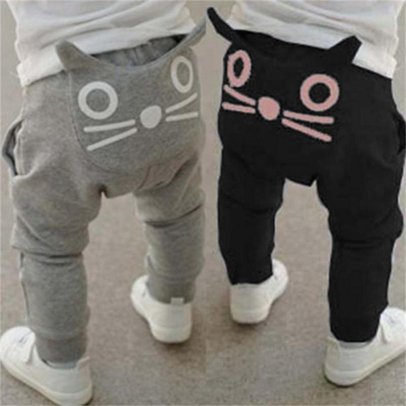 Trousers Kids Loose-Pants Spring Girls Autumn Boys Cotton Clothing Baby Cat Cartoon 6-36M