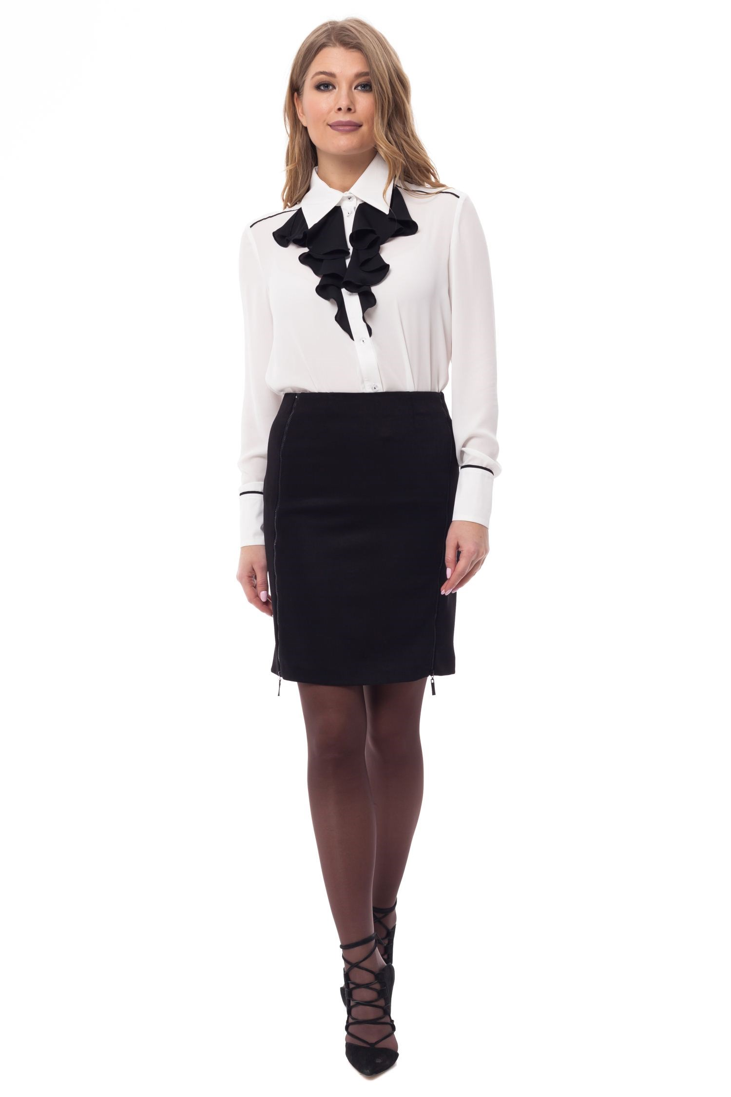 Pencil skirt with decorative zippers. tie waist plaid pencil skirt