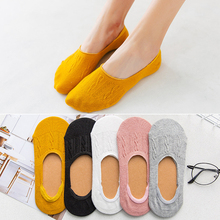 Sale Soild Color Women Ankle Low Cut Socks Cotton Breathable Casual Summer Boat Invisible Non-slip Funny