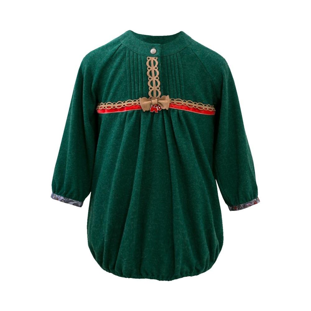 Little People Dress Angora green M green leaf print wrap dress
