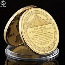 Gold Plated Coin Mexico Azetc Mayan Prophecy Calendar Souvenir Antique Feng Shui Collection