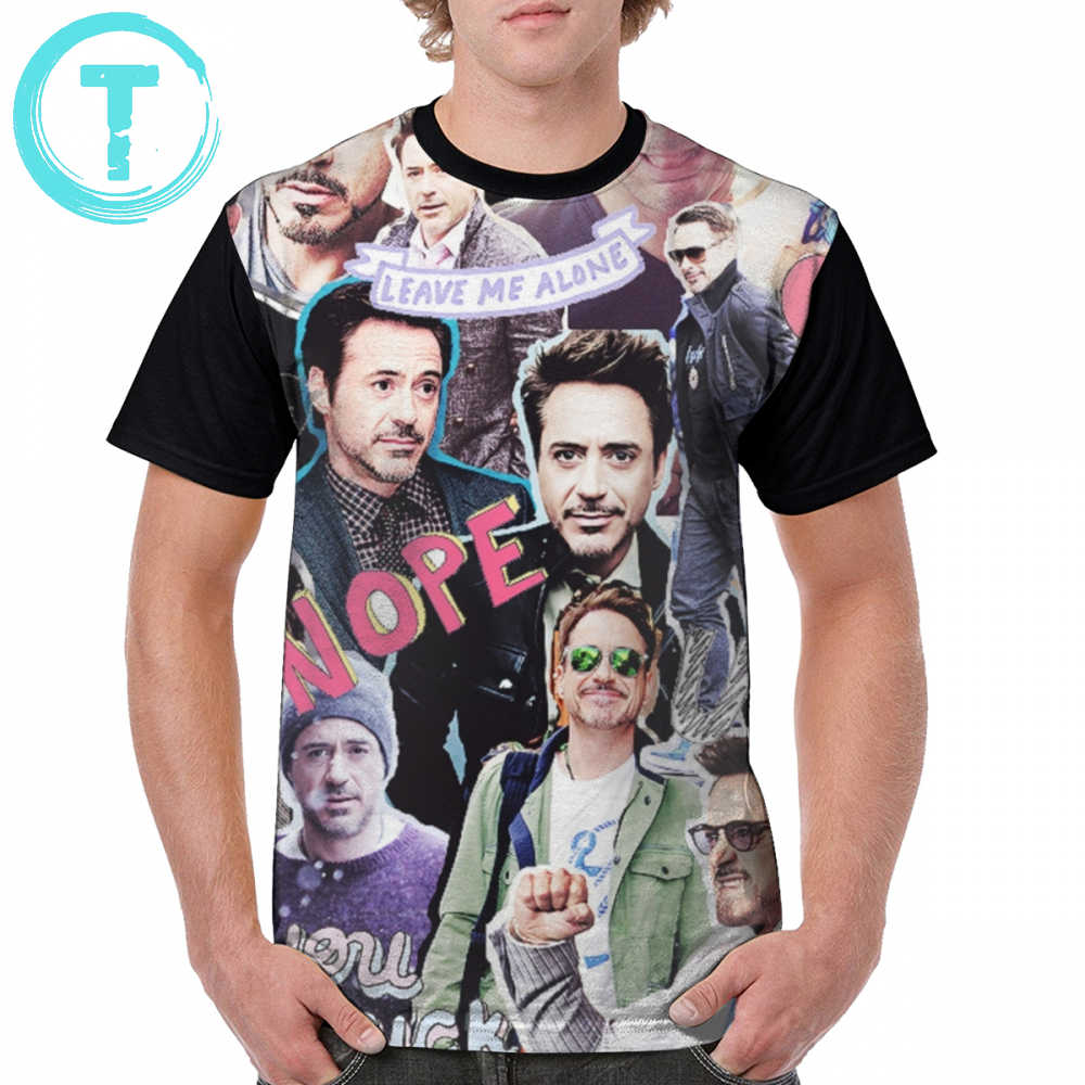 Camisa 100 do poliéster da colagem do tumblr de robert downey jr t camisa da colagem do tumblr