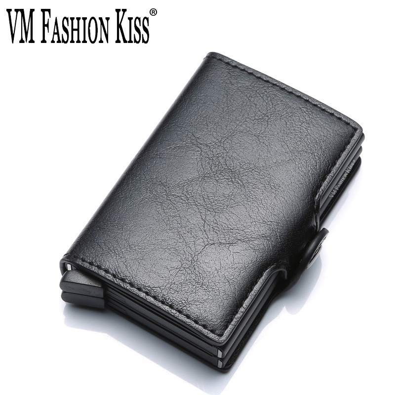 VM FASHION KISS RFID Upgrade Aluminum Box Metal Purse Crazy Horse PU Wallet Security Information Double Box Credit Card Holder