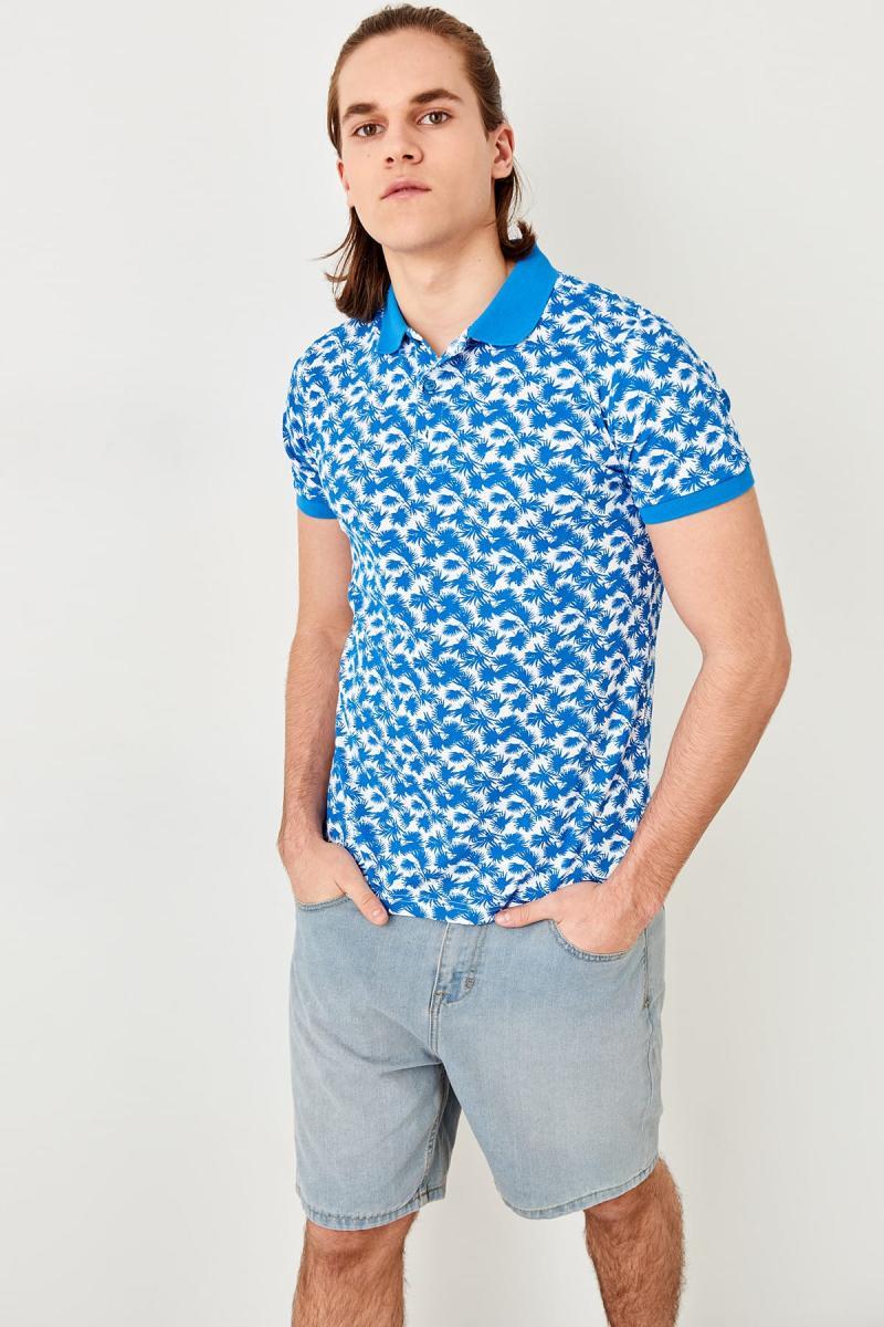 Trendyol Blau Gedruckt Polo Kragen T-shirt Tmnss19hd0007