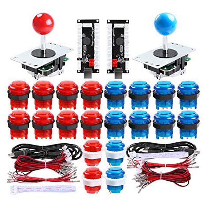 2 Player Led Arcade Diy Parts 2X USB Encoder + 2X Joystick + 20x Led Arcade Buttons For PC, Mame, Raspberry Pi, Windows (Red &