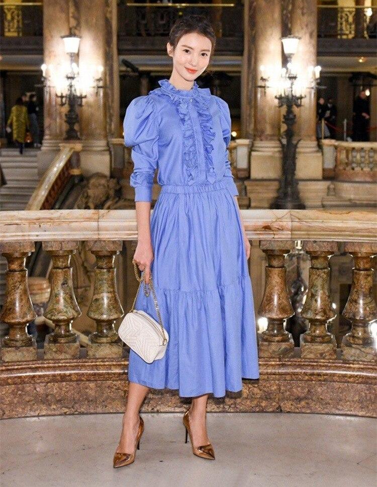 New Arrival 2018 Autumn Fashion Women Blue DressRuffles Neck Long Sleeve Sweet Lolita Princess Ruffles Dress Party Vestidos
