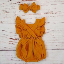 Baby Girl Clothes Ruffle Romper Headband For 3M