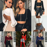 Women Sexy Off Shoulder Lace up Crop Tops Long Sleeve Corset Casual Shirt T Shirt Crew Neck See through Gauze Tops New