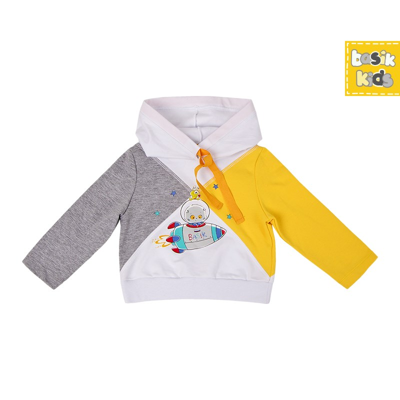 Basik Kids Blouse sweatshirt combination kids clothes children clothing basik kids blouse sweatshirt gray with pocket kids clothes children clothing